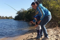 Boy's 1st fishing trip. Dad moment.