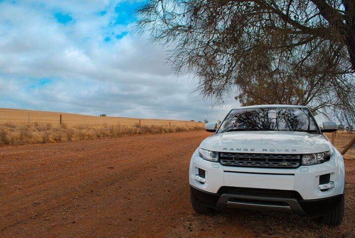 White 4wd on site of the road in the Barossa Valley