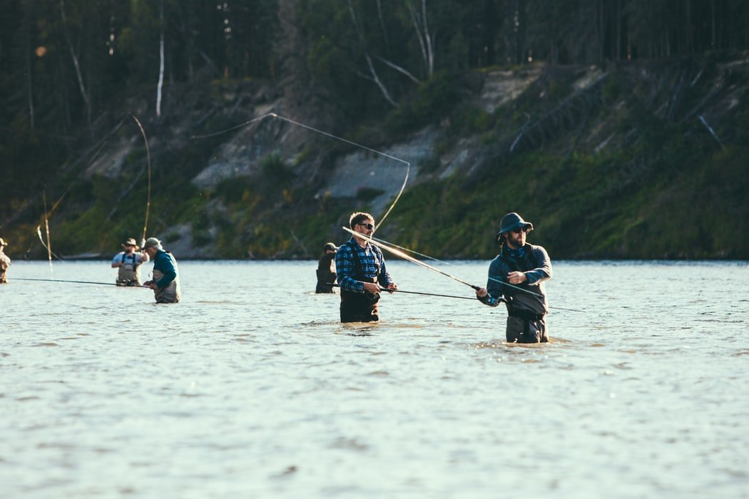 Group of men on a wade fishing adventure